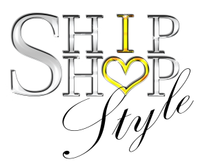 Ship Shop Style logo in silver with gold letter i and heart shaped letter o, spelling I love style within the name