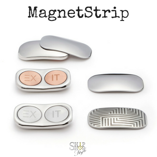 Magnetic Strips - with two strong magnets in stainless steel or with copper, and stainless steel counterpart plain or engraved