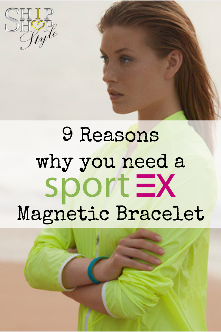 9 reasons why you need a sportEX magnetic bracelet with photo of woman on beach wearing yellow top and magnetic bracelet with arms crossed