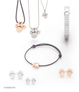 Selection of magnetic jewellery with paw print motifs, in stainless steel, gold and rose-gold plate. Pendants, bracelets and ear studs