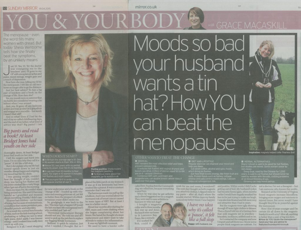Photo of double page spread in the Sunday Mirror newspaper with a head and shoulders picture of Sheila Wenborne and a headline on the right saying 'Moods so bad your husband wants a tin hat? How YOU can beat the menopause'