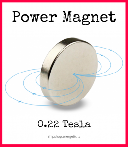 Text says Power Magnet above picture of magnet showing north and south poles coming out of the centre, above text that says 0.22 Tesla and webshop address.