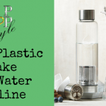 Ship Shop Style logo above text that says Reduce Plastic and Make Your Water Alkaline. On the right is a photo of a Balance Plus glass bottle with a stainless steel lid in front of it with the Tree o Life engraved. Right of this is a jug and glass, with Magnet Stick and Stainless Steel drinking straws