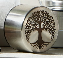 Stainless steel Balance Plus bottle lid engraved with the Tree of Life
